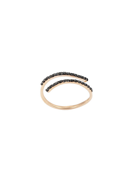 KISMET by Milka Wrap Over Ring in Black Diamond