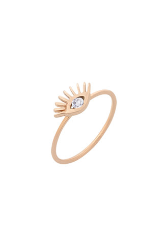KISMET by Milka Evil Eye Ring with White Diamond