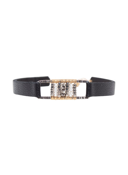 Dana Kellin Fashion Deco Mix, Silver, Gold, and Leather Bracelet