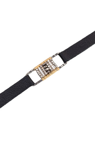 Dana Kellin Fashion Deco Mix, Silver, Gold, and Leather Bracelet