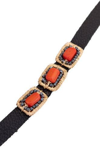 Dana Kellin Fashion Coral, Dark Silver, Gold, and Leather Bracelet