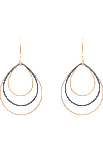 Dana Kellin Fashion Dark Silver and Gold Teardrop Earrings