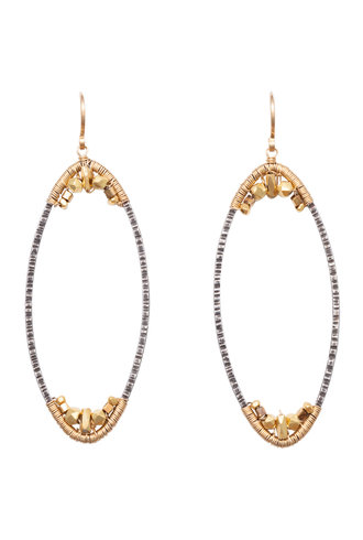 Dana Kellin Fashion Dark Silver and Gold Oblong Earrings