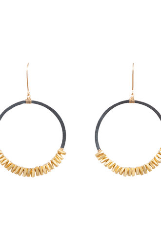 Dana Kellin Fashion Dark Silver and Gold Circle Earrings