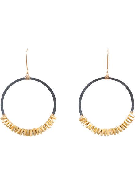 Dana Kellin Fashion Dark Silver and Gold Circle Earrings