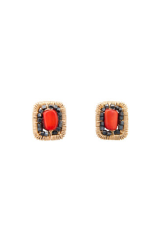 Dana Kellin Fashion Coral, Dark Silver and Gold Earrings
