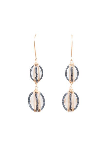 Dana Kellin Fashion Crystal, Dark Silver, and Gold Earrings