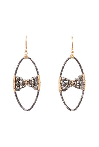 Dana Kellin Fashion Dark Silver and Gold Earrings