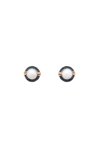 Dana Kellin Fashion Pearl, Dark Silver and Gold Earrings