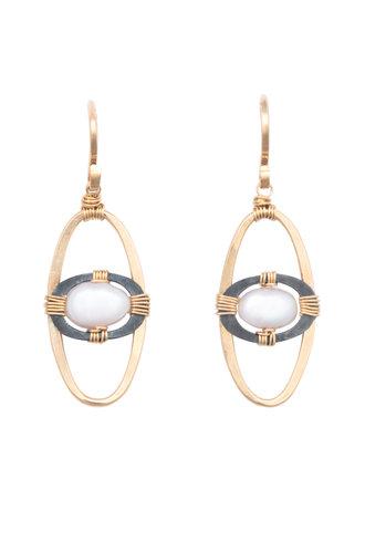 Dana Kellin Fashion Pearl, Dark Silver, and Gold Oval Earrings