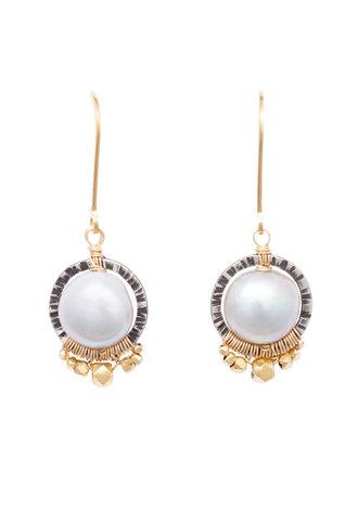 Dana Kellin Fashion Pearl, Dark Silver, and Gold Circle Earrings