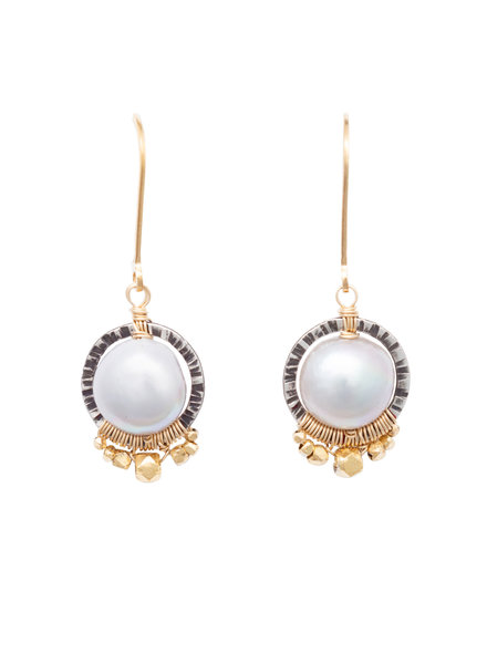 Dana Kellin Fashion Pearl, Dark Silver, and Gold Circle Earrings