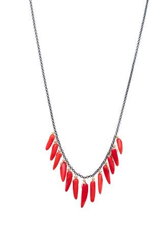 Dana Kellin Fashion Coral, Dark Silver and Gold Necklace