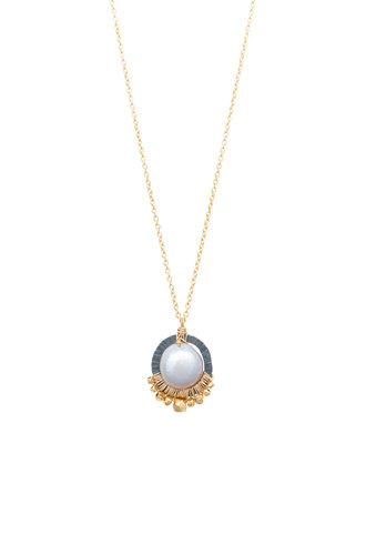 Dana Kellin Fashion Pearl, Dark Silver, and Gold Necklace