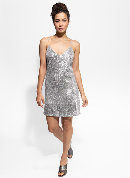 Loyd/Ford Sequin Silk Slip Dress Silver
