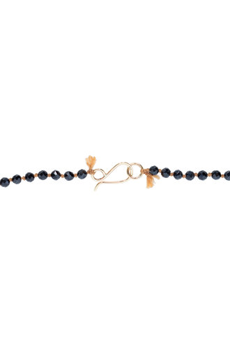 Renee Garvey Black Spinel, Agate, Opal, Silk, and 14K Gold Necklace