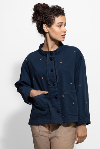 The Great The Swingy Parka with Spice Poppy Embroidery Navy Railroad Stripe