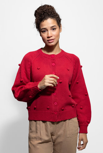 The Great The Cropped Bobble Cardigan Cardinal