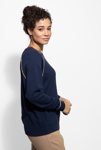 The Great The College Sweatshirt with Multi Piping Navy