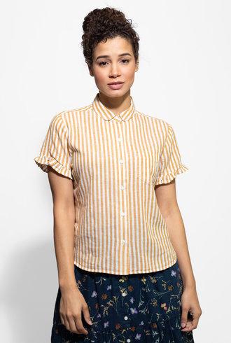 Trovata Tessa Short Sleeve Ruffle Shirt Amber Stripe