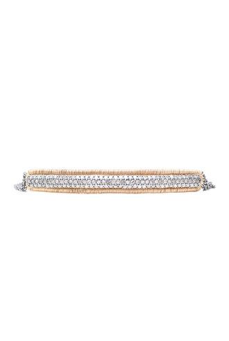 Dana Kellin Fine 14k Pave Diamond Curved Bar Bracelet