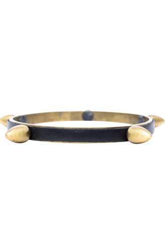 Beth Orduna Design Leather and Brass Large Thorn Bangle