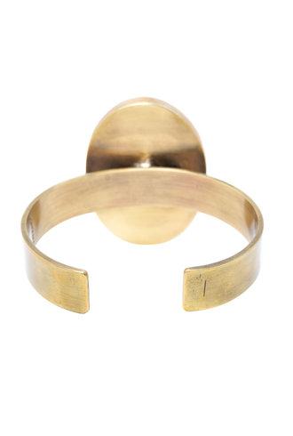 Beth Orduna Design Oval White Jasper Brass Cuff