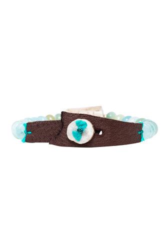 Renee Garvey Aquamarine, Silk, Leather, and Antler Bracelet