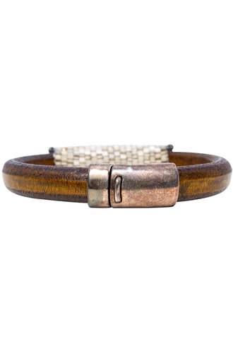 Pyrite Leather Bracelet