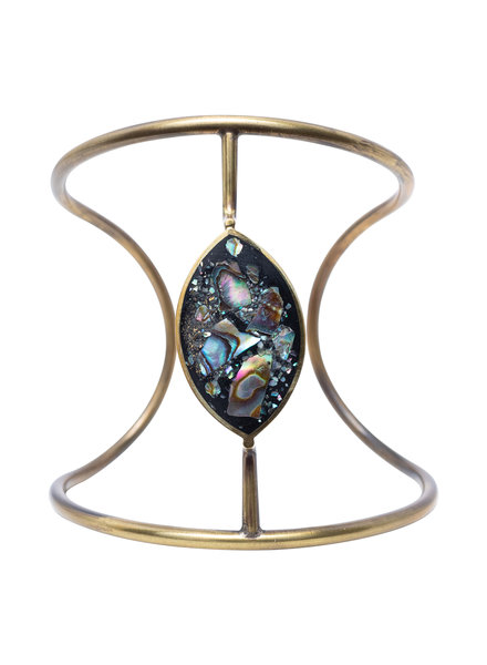 Beth Orduna Design Abalone Mosaic Brass Cuff