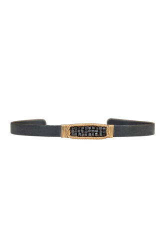 Dana Kellin Fine Black Diamond, Dark Silver, and Gold Cuff Bracelet