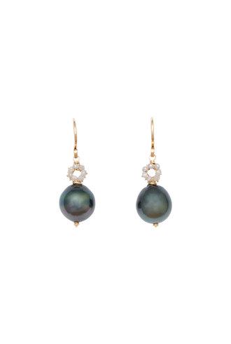 Dana Kellin Fine Tahitian Pearl, Diamond, and Gold Earrings