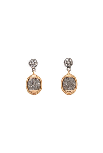 Dana Kellin Fine Diamond, Druzy Quartz, and Gold Earrings