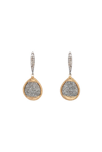 Dana Kellin Fine Diamond, Druzy Quartz, and Gold Earrings
