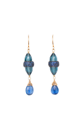 Dana Kellin Fine Blue Sapphire, Kyanite, London Blue Quartz, and Gold Earrings