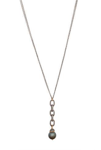 Dana Kellin Fine Diamond, South Sea Pearl, Dark Silver, and Gold Necklace