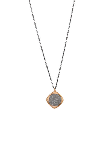 Dana Kellin Fine Druzy Quartz, Dark Silver and Gold Necklace