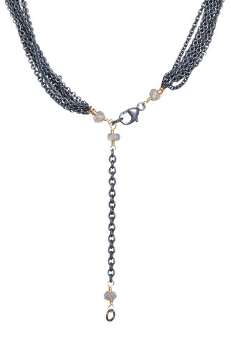 Dana Kellin Fine Diamond, Tahitian Pearl, Dark Silver and Gold Necklace