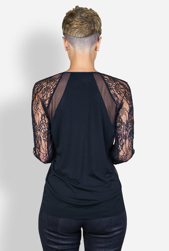 Gary Graham Embroidered Long Sleeve Basic Black