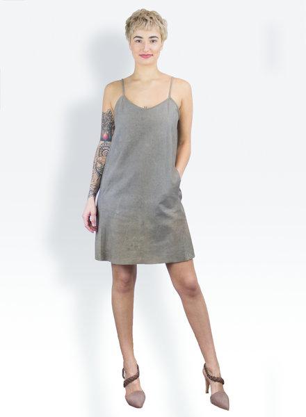 Gary Graham Leather Apron Dress Grey