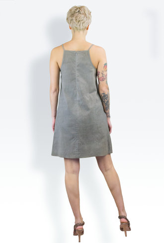 Gary Graham Leather Apron Dress Grey