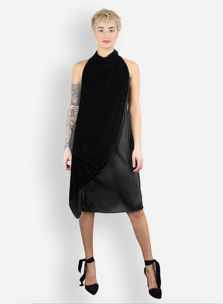 Gary Graham Velvet Drape Dress