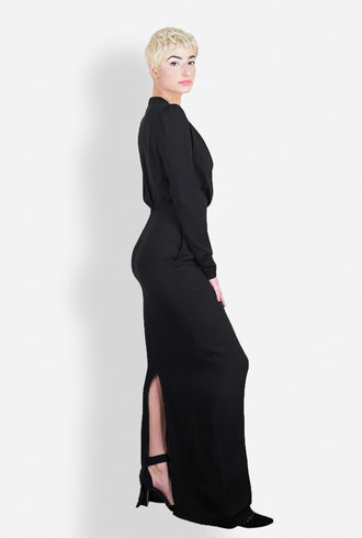 Gary Graham Long Drape Front Dress Black