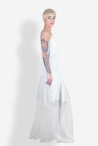 Gary Graham Long Organza Crinoline Dress Antique