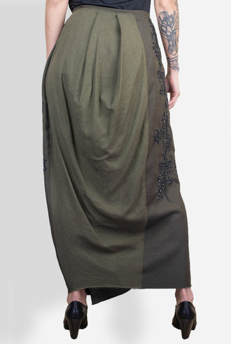 Gary Graham Melton Wool Embroidered Skirt Army