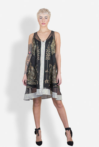 Gary Graham Embroidered Organza Dress Black