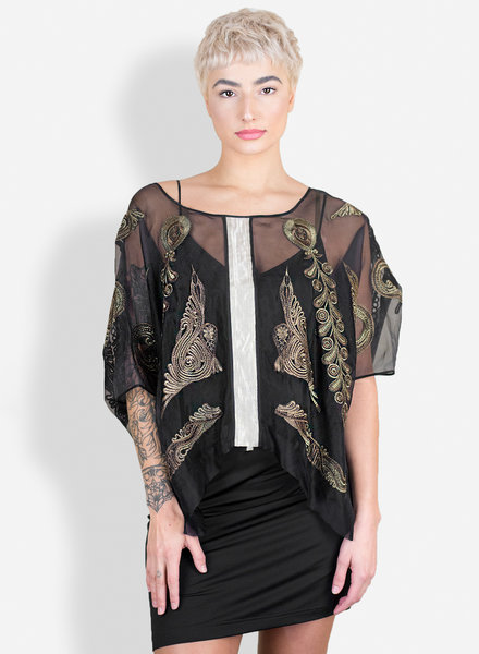 Gary Graham Embroidered Organza Top Black