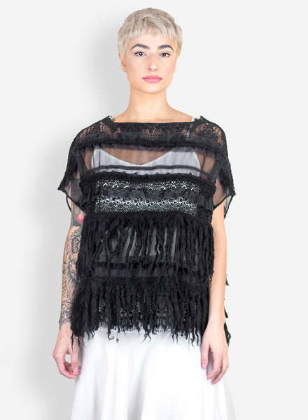 Gary Graham Mongolian Knit Fringe and Lace Pullover Black