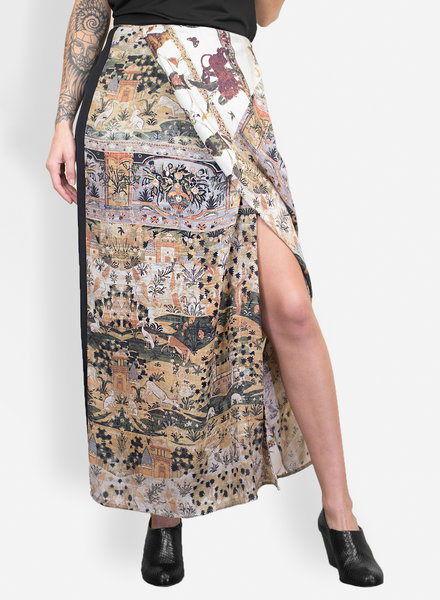 Gary Graham Printed Georgette Blocked Skirt Safavid