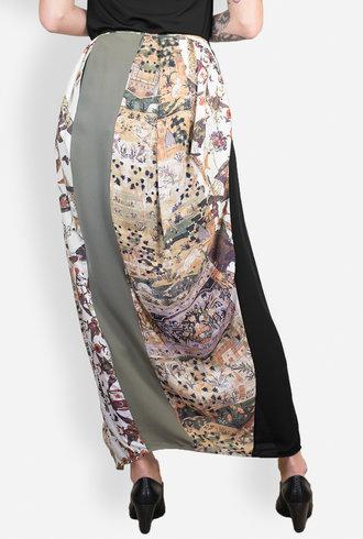 Gary Graham Printed Georgette Blocked Skirt Safavid